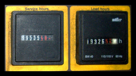 compressor service hour meter and load hour meter