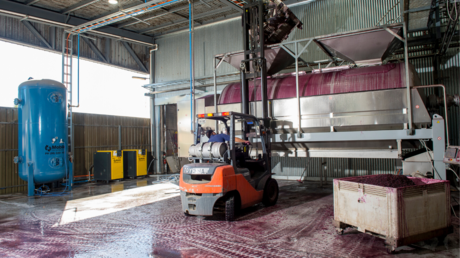 pneumatic press in winery